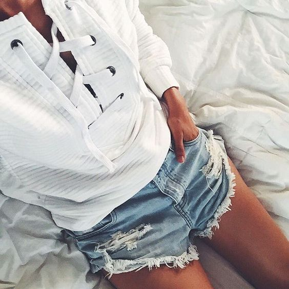 White Lace Up Knit Jumper + Ripped Denim Shorts
