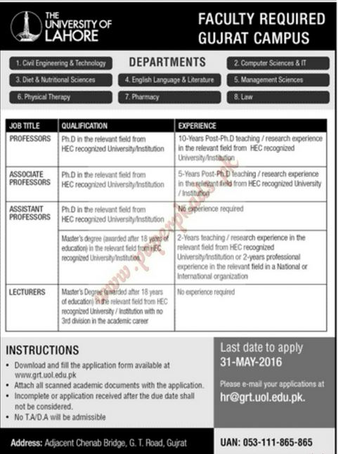 Lahore, GOVT JOBS, University of Lahore jobs, Associate Professor, Professor Jobs, Jang, Express, News, Dawn,