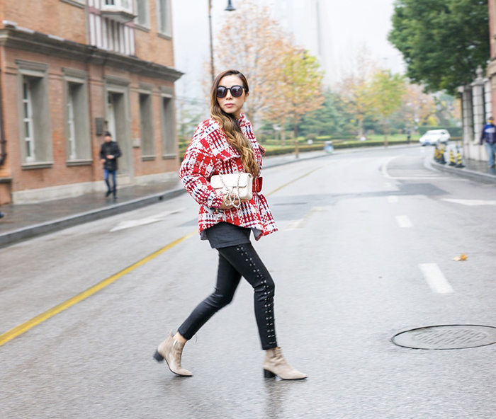 plaid coat with belt, storets coco check jacket with belt, chanel mini flap, karen walker super duper sunglasses, blanknyc moto pants, everlane boss booties, shanghai street style, san francisco fashion blog