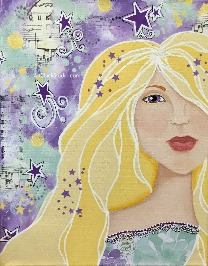 Purple Stars Mixed Media Portrait