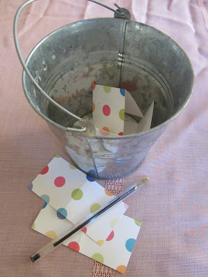 Bucket with slips of paper