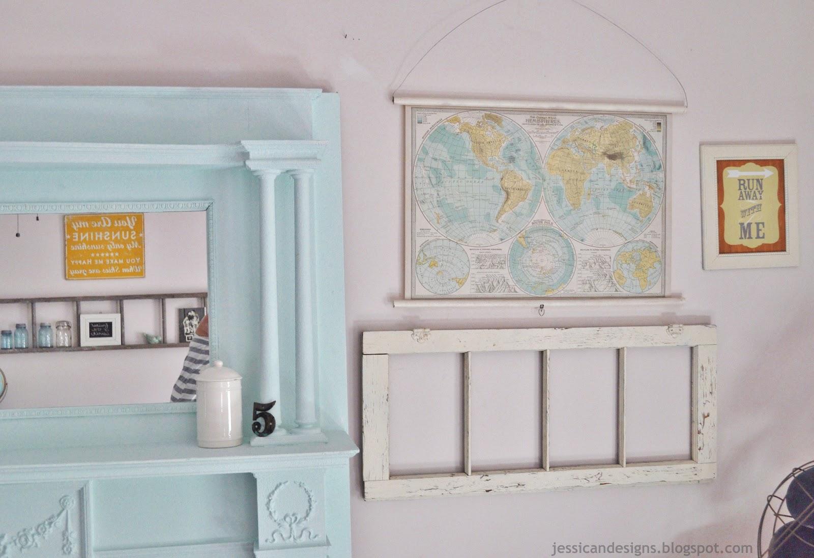diy faux vintage pull down map by jessicandesigns julie. Black Bedroom Furniture Sets. Home Design Ideas