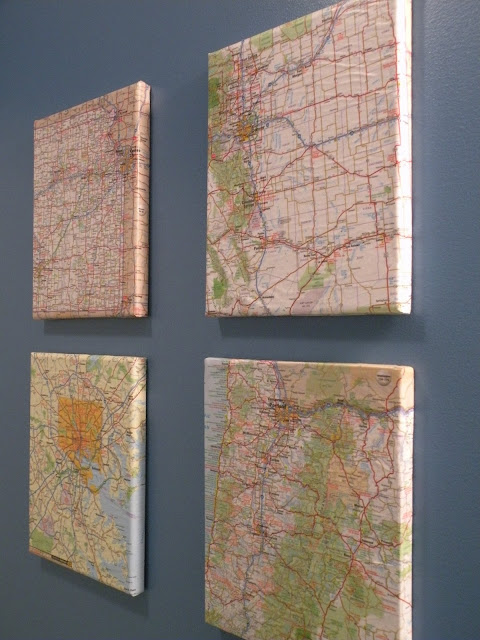 DIY map art on blue wall