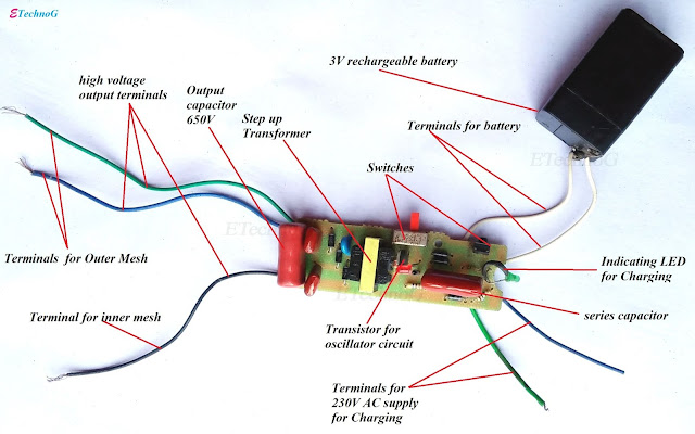 Mosquito Killer Bat Circuit Diagram, How Mosquito Killer Bat Works, internal parts of mosquito killer bat