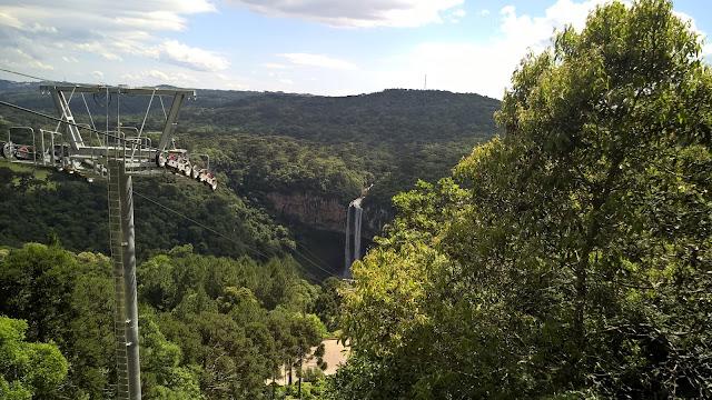 Bela vista da Cascata do Caracol, Bondinhos Aéreos, Serra Gaúcha