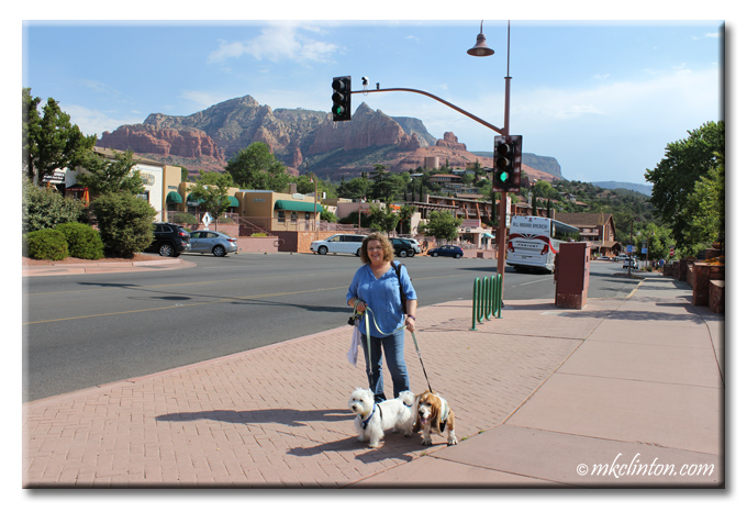 Woman with Basset Hound and Westie in Sedona Arizona