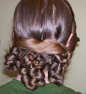 Braided waterfall with side-hair wrapped around braid headers.