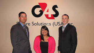Three SHSU students, Justin Neuneker, Ana Mendez and Matthew Thomas (l to r), recently completed an internship in private security at G4S in Houston