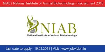 NIAB ( National Institute of Animal Biotechnology ) Recruitment 2018