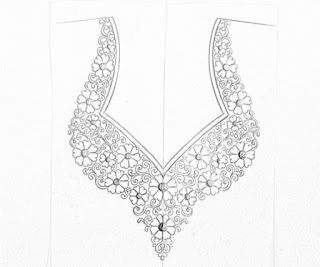 Ladies kurti neck design drawing with pencil on paper for hand emroidery and machine embroidery design.  Embroidery neck design sketch on tracing paper.