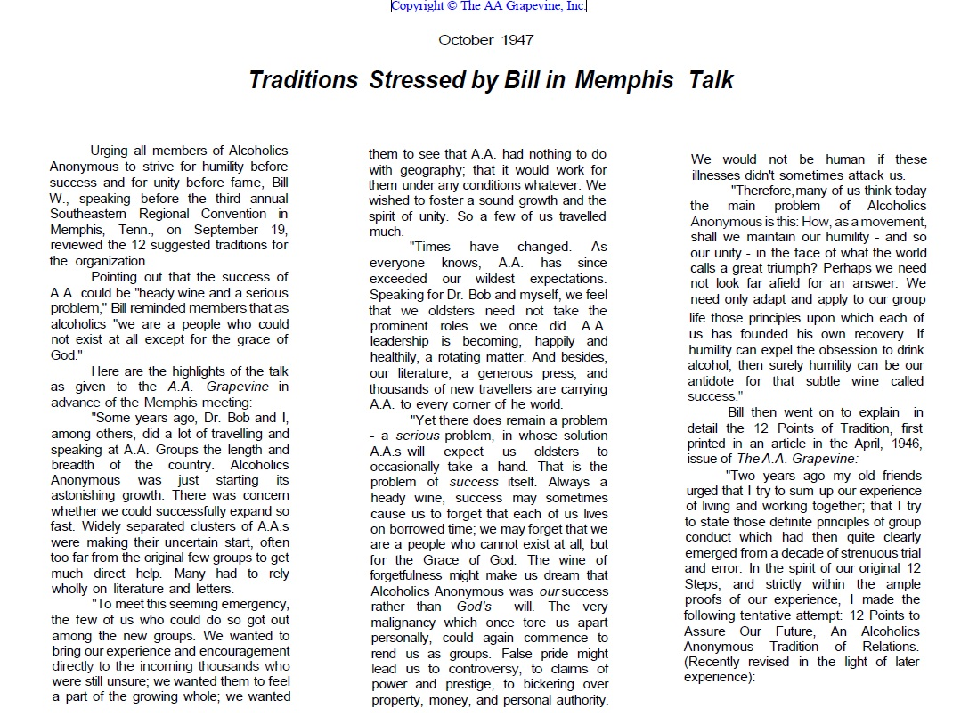 Aacultwatch Traditions Stressed By Bill In Memphis Talk
