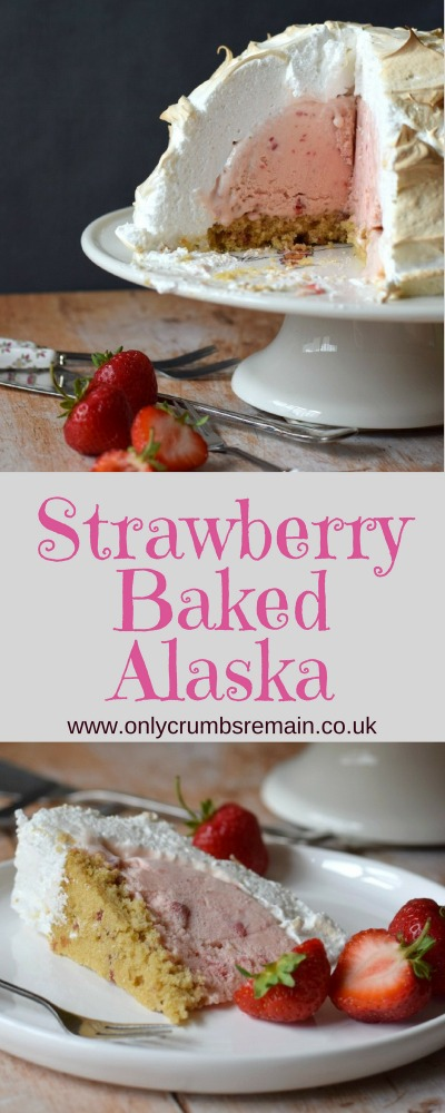 How to make Baked Alaska - Strawberry sponge, topped with strawberry ice cream and encased in a marshmallow-y meringue before being baked in a relatively hot oven!  The ultimate warm frozen dessert!