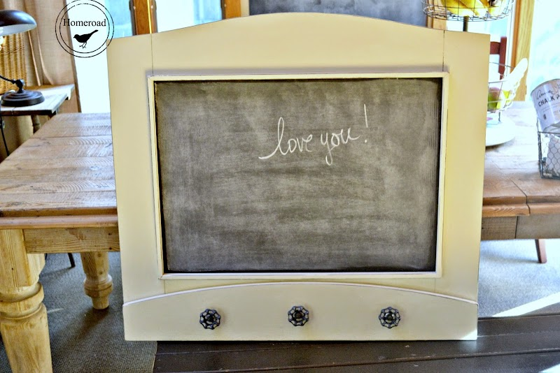 Chalkboard Message Center with Faucet Hooks