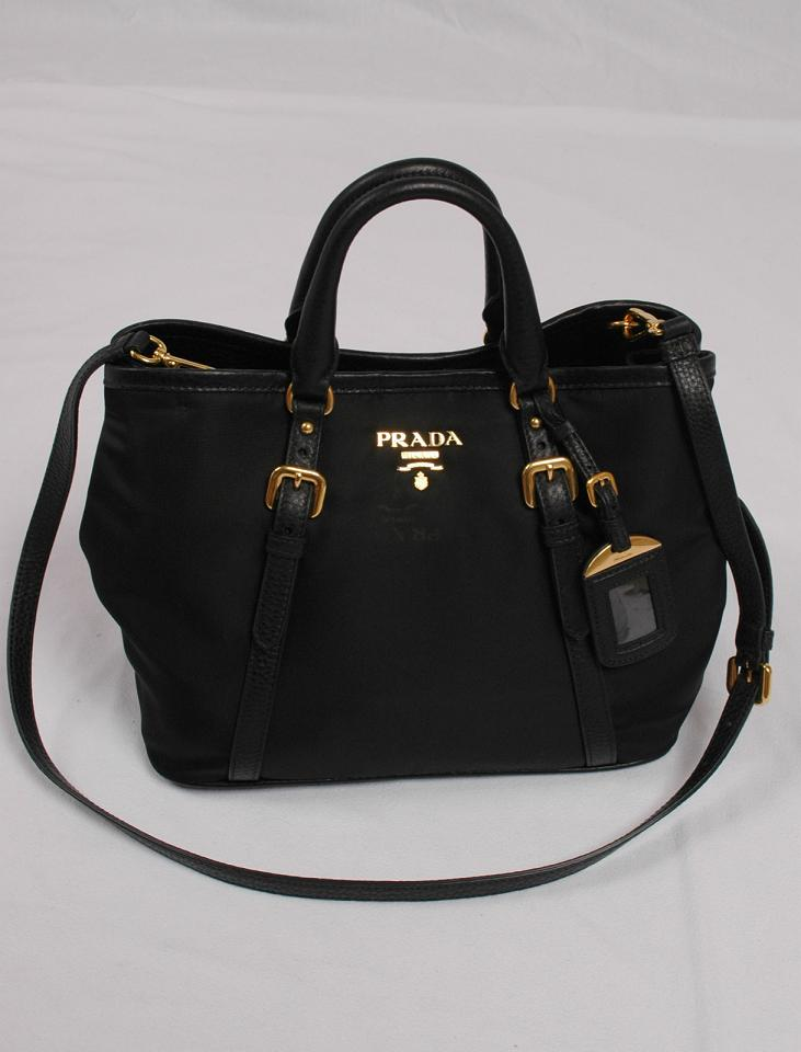 1e207ae58b35 Prada Tessuto Vitello Daino Leather Nylon Satchel Crossbody Bag. Authentic  ...