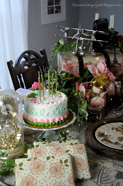 #RoseAndGold #Birthday #Party #Decorating #Event #Cottage #ShabbyChic #Vintage #Cake #21stBirthday #Decorations #Pink
