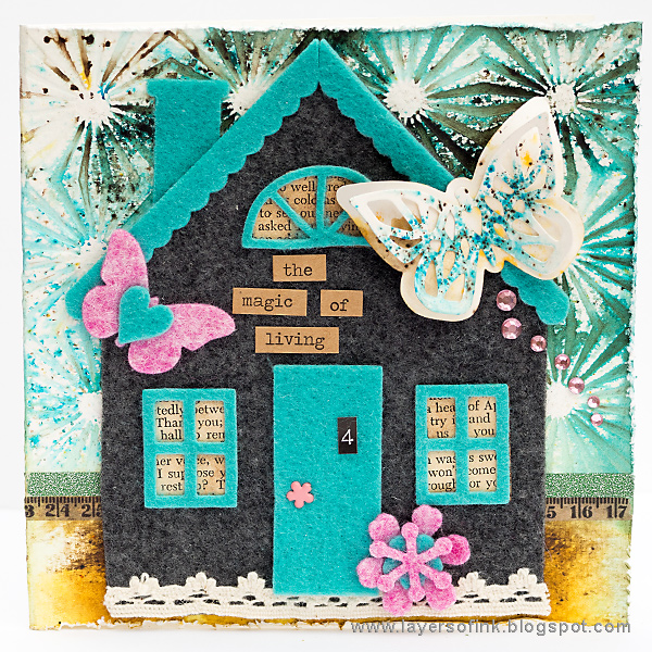 Layers of ink - Felt House Card by Anna-Karin with Sizzix Eileen Hull Heartfelt dies.
