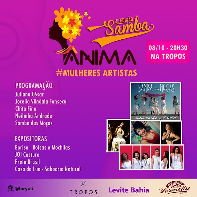 """Samba das Moças e Chita Fina fazem shows na 4ª edição do projeto """"Ânima"""" na Tropos"""
