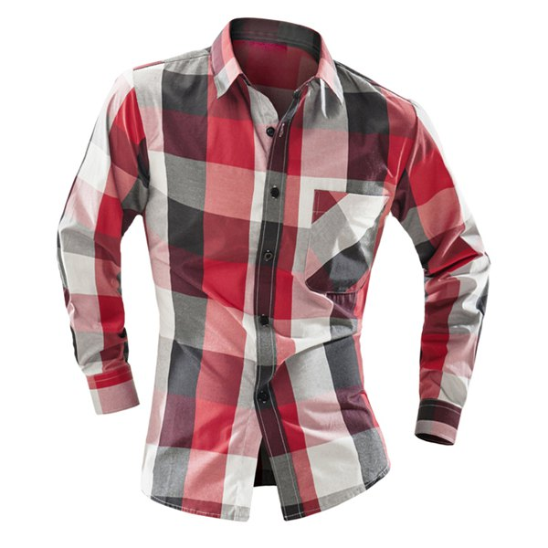 One Patch Pocket Classic Color BlockPlaid Print Slimming Shirt Collar Long Sleeves Men's Vogue Shirt - Red L