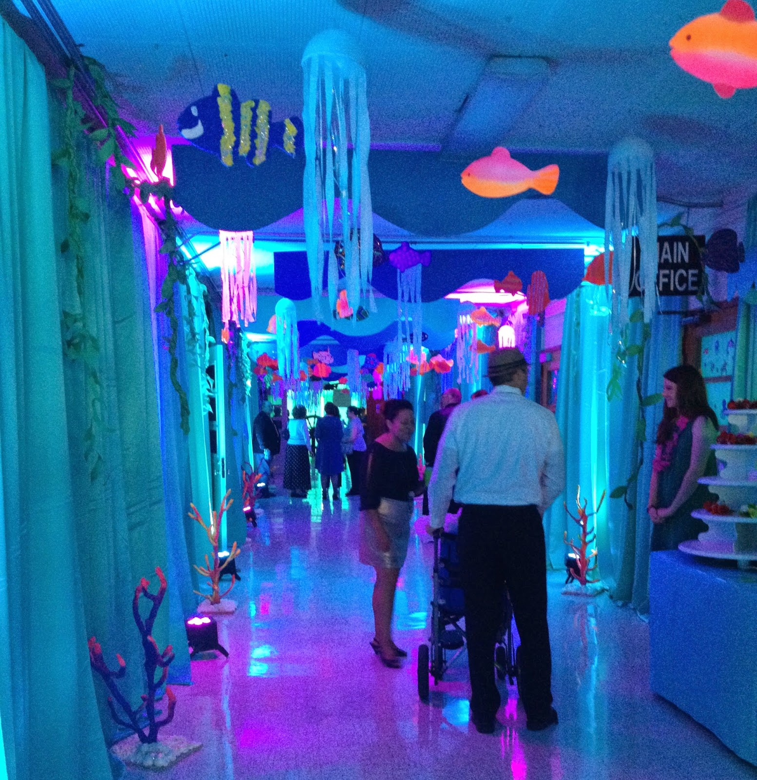 "Main hall at Rosedale school decorated with fish and coral for the 2015 Prom: ""Under the Sea."""