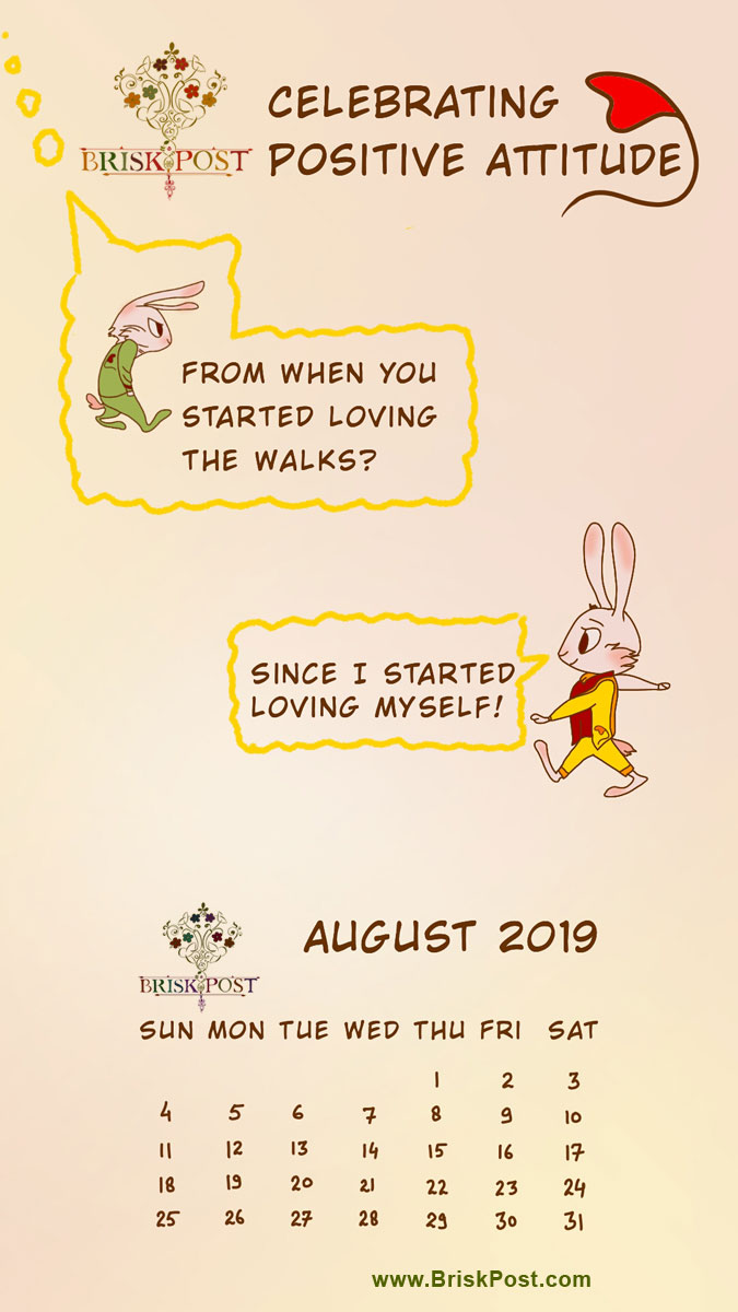 August 2019 calendar: Speaking bunny cartoon illustration motivating for morning walk with boosting the positive attitude