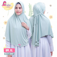 kerudung miulan bpl xl jumbo hijab cantik warna misty army jilbab plain laura syari