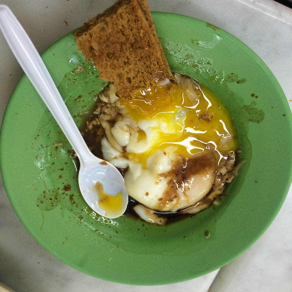 Poached eggs and kaya toast