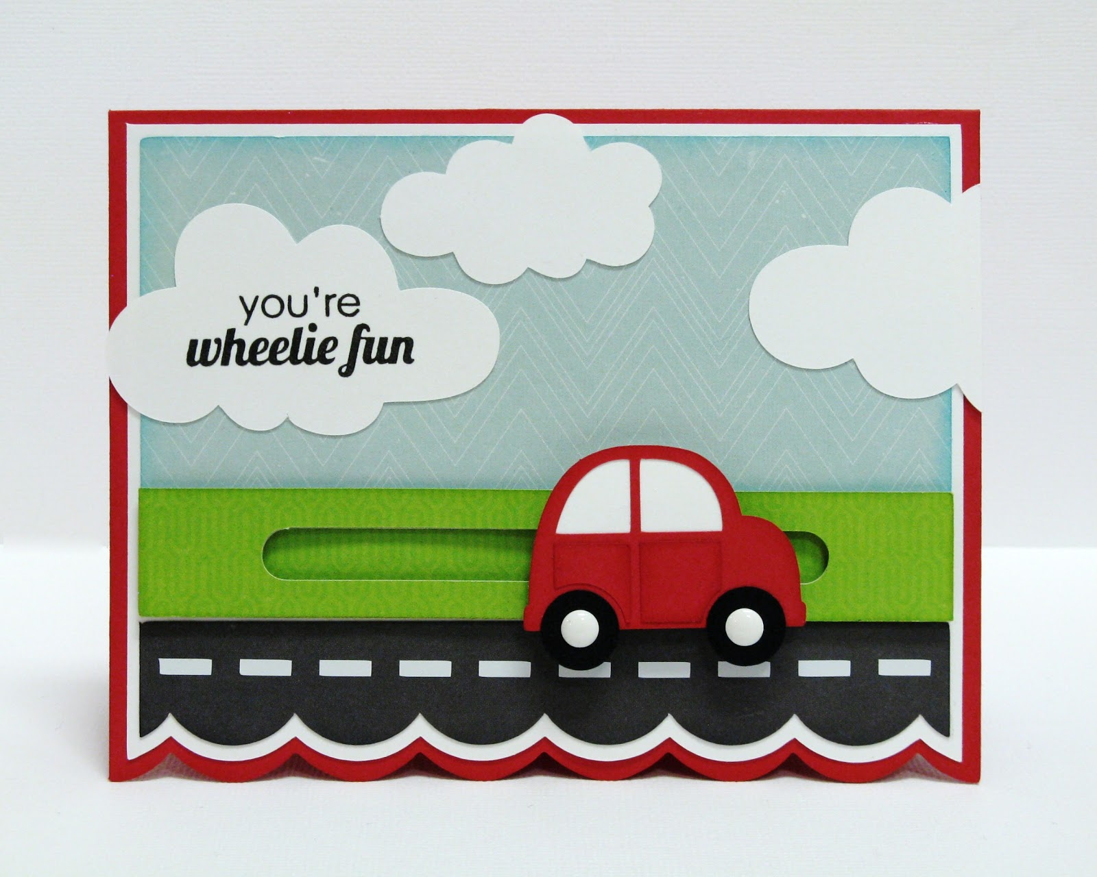Echo Park We Are Family & Lori Whitlock Penny Slider Pinwheel Car Card by Mendi Yoshikawa