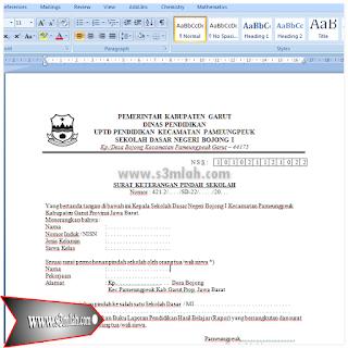 Download Format Surat Keterangan Pindah Sekolah