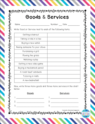This Goods and Services worksheet is a free download on this post.