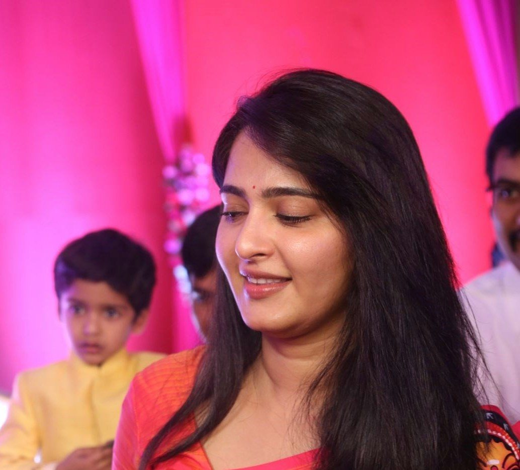 Anushka Shetty In Red Saree At Shyam Prasad Reddy Daughter Wedding