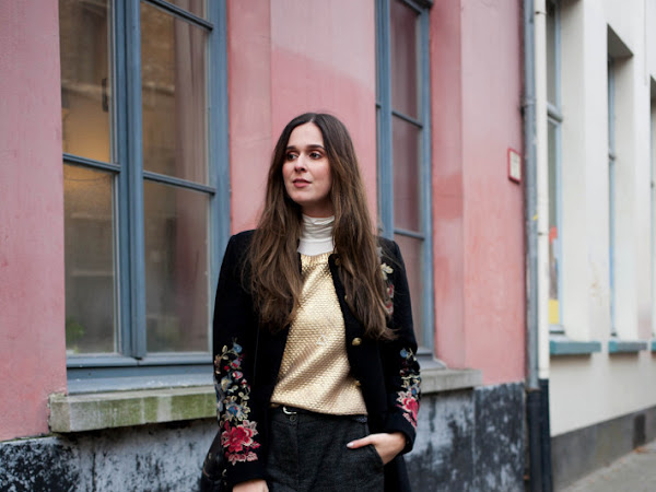 Outfit: cropped tweed trousers, embroidered coat