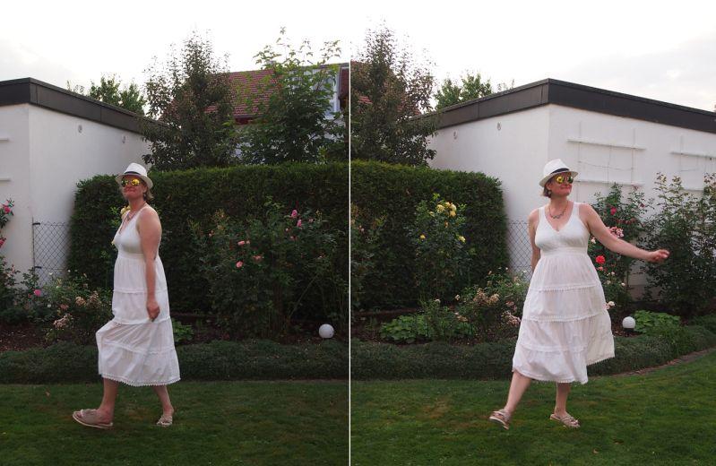 Weißer Strohhut und weißes Sommerkleid