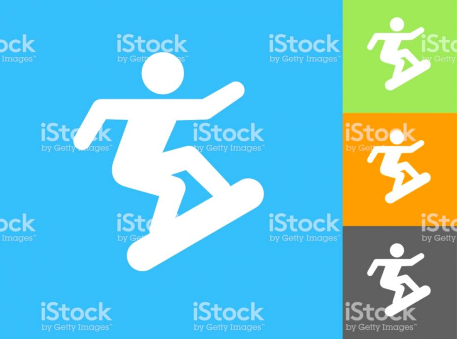 Snowboard Flat Icon On Blue Background Stock Vector Art & More