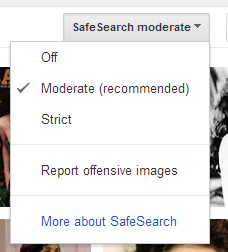 how to turn off moderate safe search