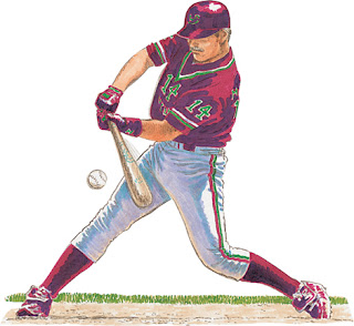 Clipart image of a baseball player swinging the bat