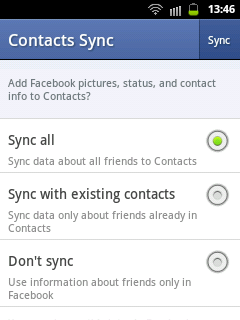 Facebook Contacts Sync