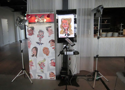 iPad karikatuur tekenen set-up spots display TV printer