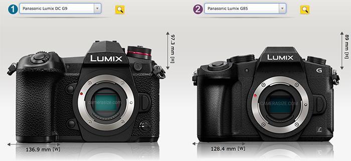 Сравнение габаритов Lumix G9 и G85