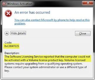 Komputer nir bisa diaktifkan menggunakan Kunci Produk lisensi Volume 0xC004F035