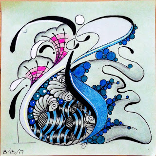 Finish My Tile (FMT) challenge #177 with zentangle patterns Joki, Jilli, Vigne, Oke