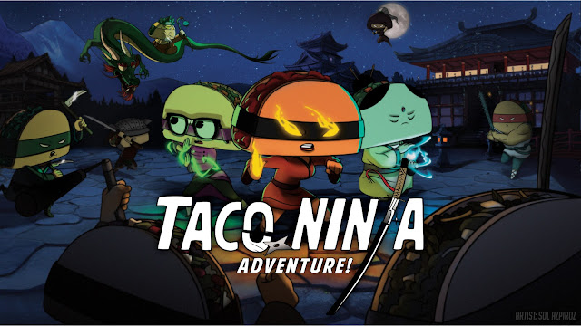 Ninjas with tacos for heads in the middle of a fight, with the words Taco Ninja Adventure!