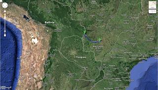 Trajeto de Campo Grande/MS/Brasil a Corumbá/MS/Brasil - 425 km.