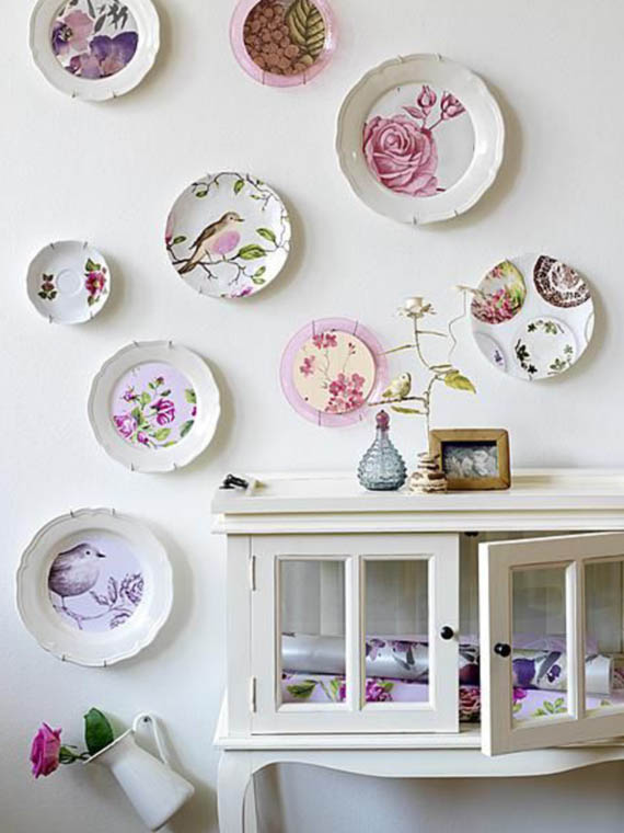 wall decor country style, flowers and bird plates