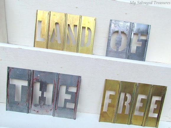 vintage brass and zinc stencils sign