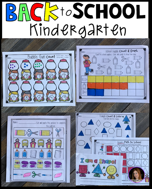 Back to School Activities and Printables for Kindergarten. Name activities, printables and math and literacy centers.