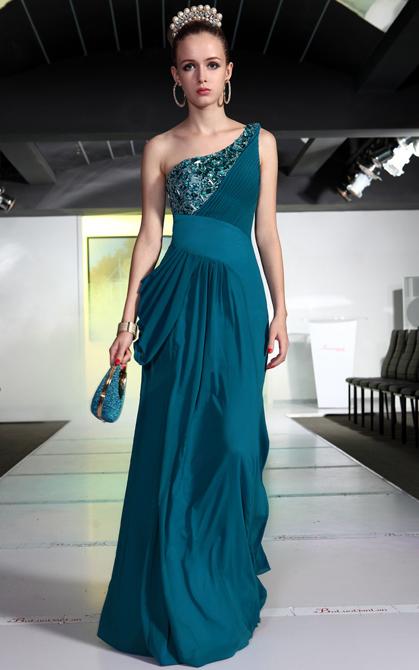 Beaded And One Shoulder Blue Color Elegant Evening Dress