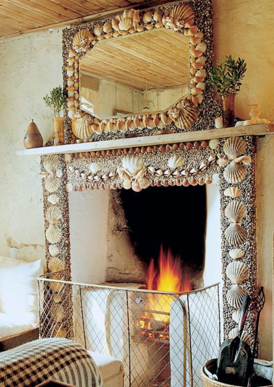 Seashell Mosaic Fireplace Mantel Idea