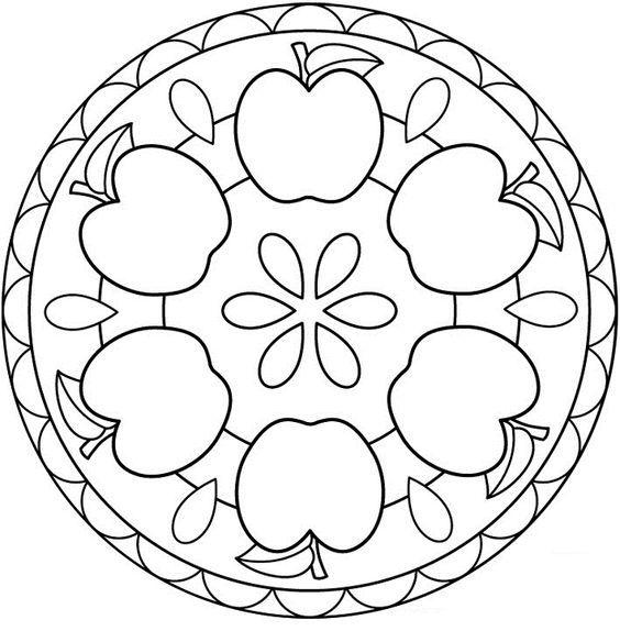 Tranh tô màu hình tròn trang trí họa tiết quả táo