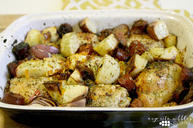 One pot Spanish chicken with red onions, garlic, chorizo and orange | Anyonita Nibbles Gluten Free