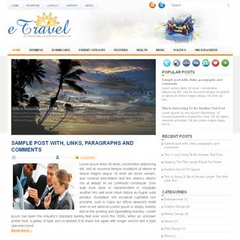 eTravel blog template. magazine blogger template style. magazine style template blogspot.